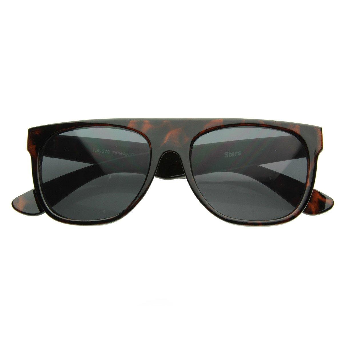Modern Retro Flat-Top Aviator Style Sunglasses Super Flat Clean Shades (Tortoise Shell)