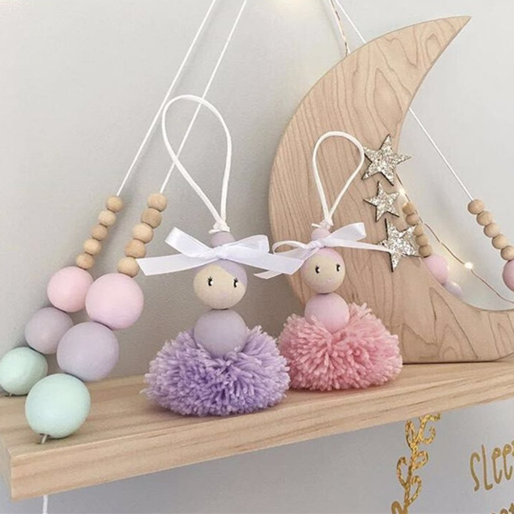 cheerfullus Nordic Style Floating Shelves Wooden Bead Plywood Shelf Bedroom Wall Decorative Stand Children's Room Dolls Storage Display Rack by cheerfullus (Image #1)