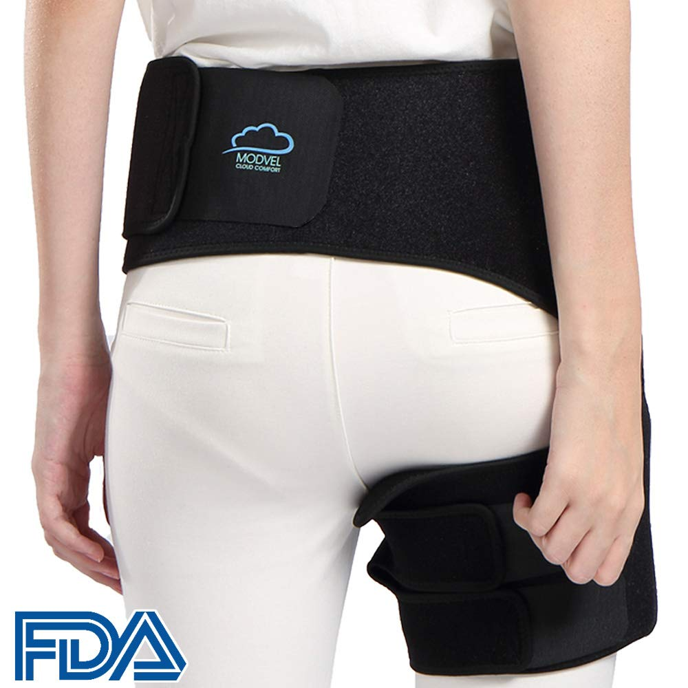 Modvel Comfortable Sciatica Pain Relief Hip Brace for Men & Women | Neoprene & Adjustable Velcro Strap | Anti-Slip & Sweat-Resistant | Perfect for Groin, Quad & Hamstring Injury Recovery (MV-132)