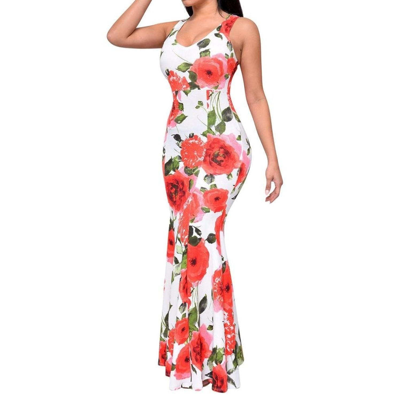 Frauen Kleid,Xinan Frauen-Dame-Sommer Bodycon Boho Maxi Abend-Partei-Rosen-Kleid
