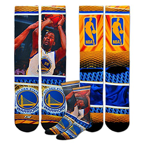 Golden State Warriors Youth Size NBA Hardplay Kids Socks (4-8 YRS) 1 Pair - Kevin Durant #35 by For Bare Feet