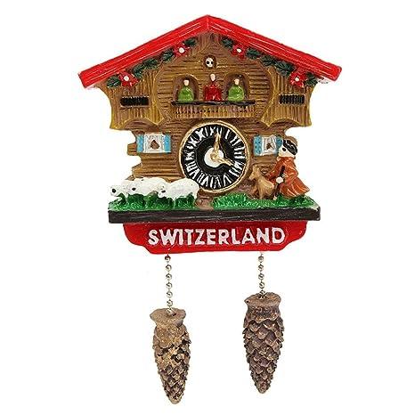 LVEDU - Reloj Hecho a Mano con Resina 3D, diseño de Cuckoo de Suiza,