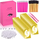 BTNOW 100 Pairs Under Eyes Pads Eyelash Suit with Lip Brush Eyelash Brush Eyelash Extension Ring and Eyelash Extension Tweezers