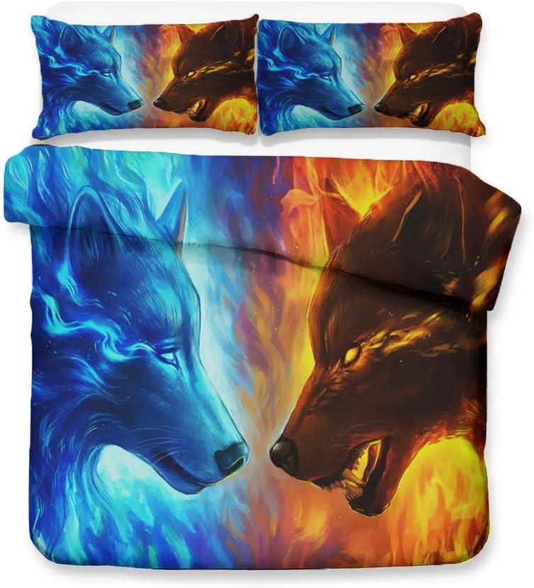 DAISANPANG ICE Wolf VS FIRE Wolf 3D Bedding Set Print Duvet Cover Set Lifelike Bed Sheet (1, Twin)