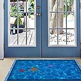 BIBITIME Blue Swimming Pool Starfish 3D Floor Sticker for Bathroom Toilet Kitchen Living Room Porch Front Door Vinyl Decal Home Art Mural Nursery Kids Room Decor