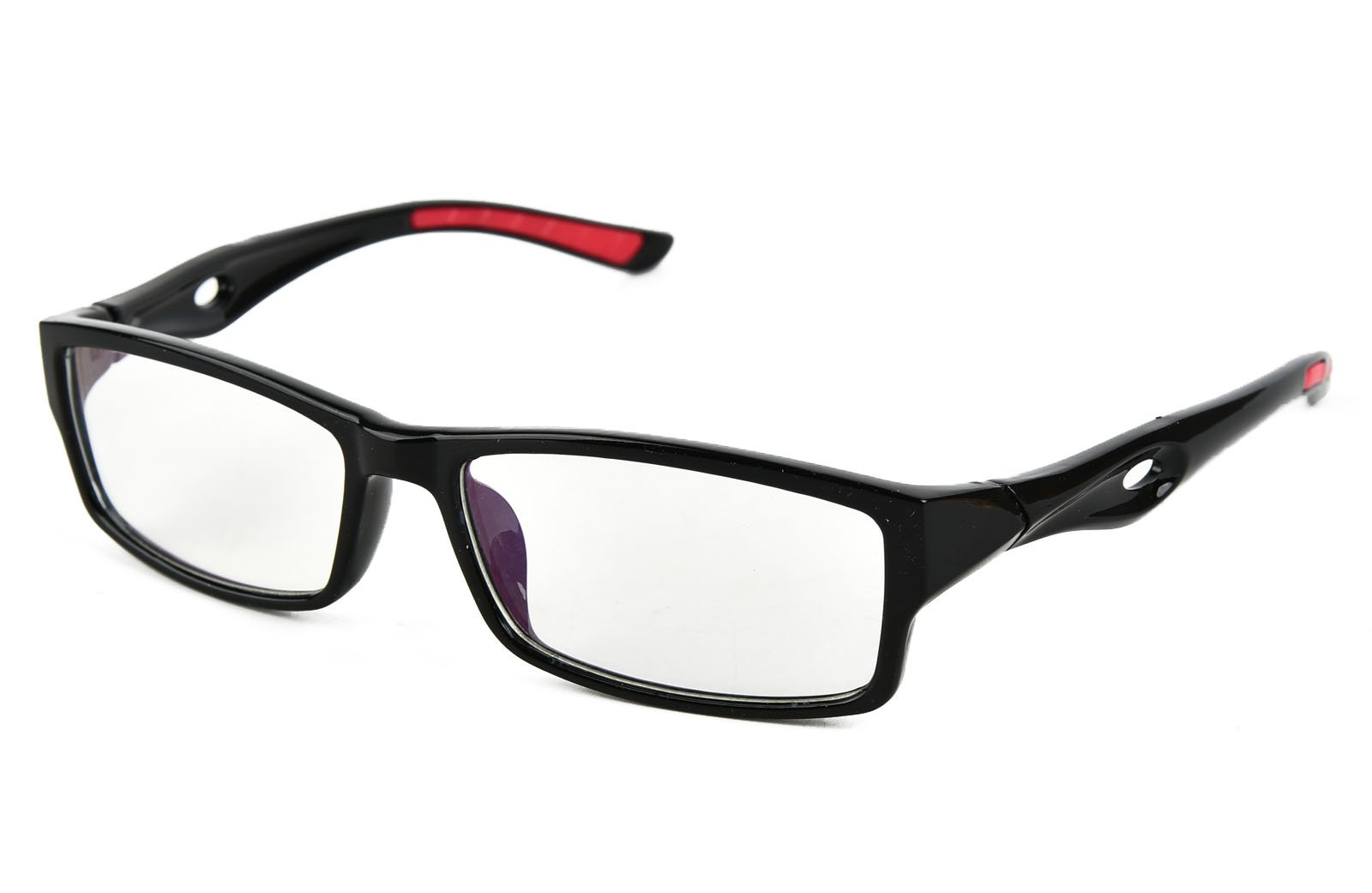 Beison Sports Optical Eyeglasses Frame Plain Glasses Clear Lens UV400 (Shiny black, 53mm)