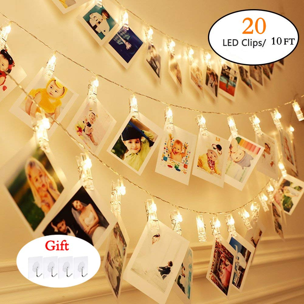 Kilenane 20 LED Photo Clips String Lights, Christmas Indoor Fairy String Lights for Hanging Photos Pictures Cards and Memos,Battery Powered, Ideal Gift for Dorms Bedroom Decoration(10Ft, Warm White)