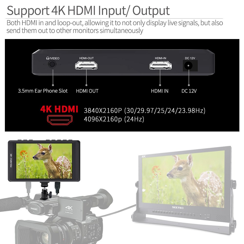 Feelworld FW450 4.5 Inch DSLR On Camera Field Monitor Small HD Focus Video Assist 1280x800 IPS with 4K HDMI Input Output