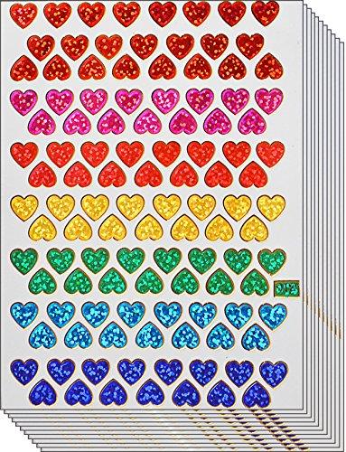 Jazzstick 1120 Small Heart Stickers Glitter Red Pink Yellow Green Blue Scrapbook 10 sheets 01A33