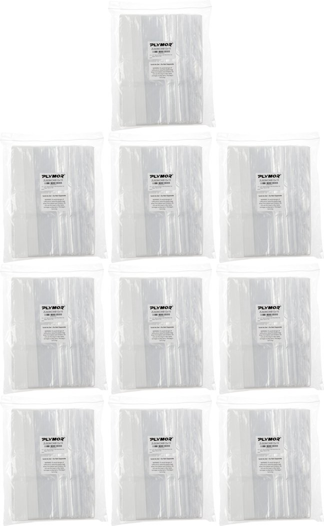 Plymor 12'' x 15'', 2 Mil (Case of 1000) Zipper Reclosable Plastic Bags w/ White Block