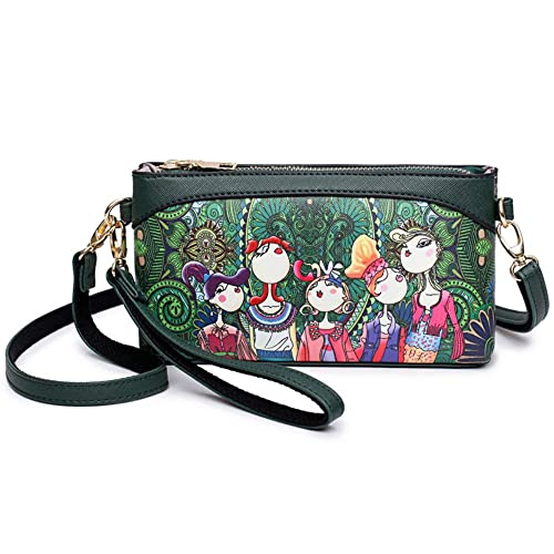 89c62e0a8f Small Women Leather Crossbody Bag Fashion Wristlet Purse 2 In 1 Handbag for  Women Teen Girls
