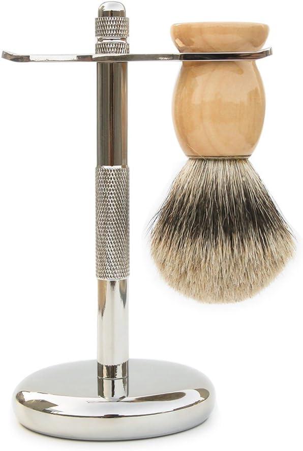 Badger Brocha de afeitar y maquinilla de afeitar soporte 2 ...
