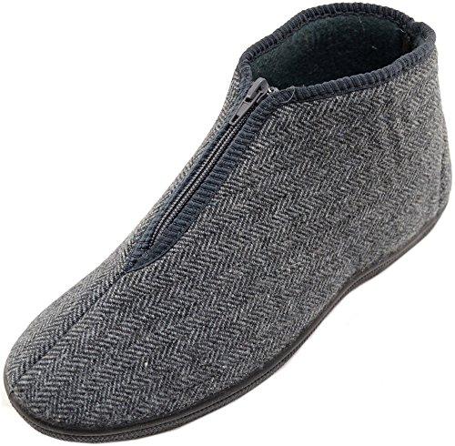Mens / Gents Herringbone Style Zip Up Boots / Slippers / Indoor Shoes Grey