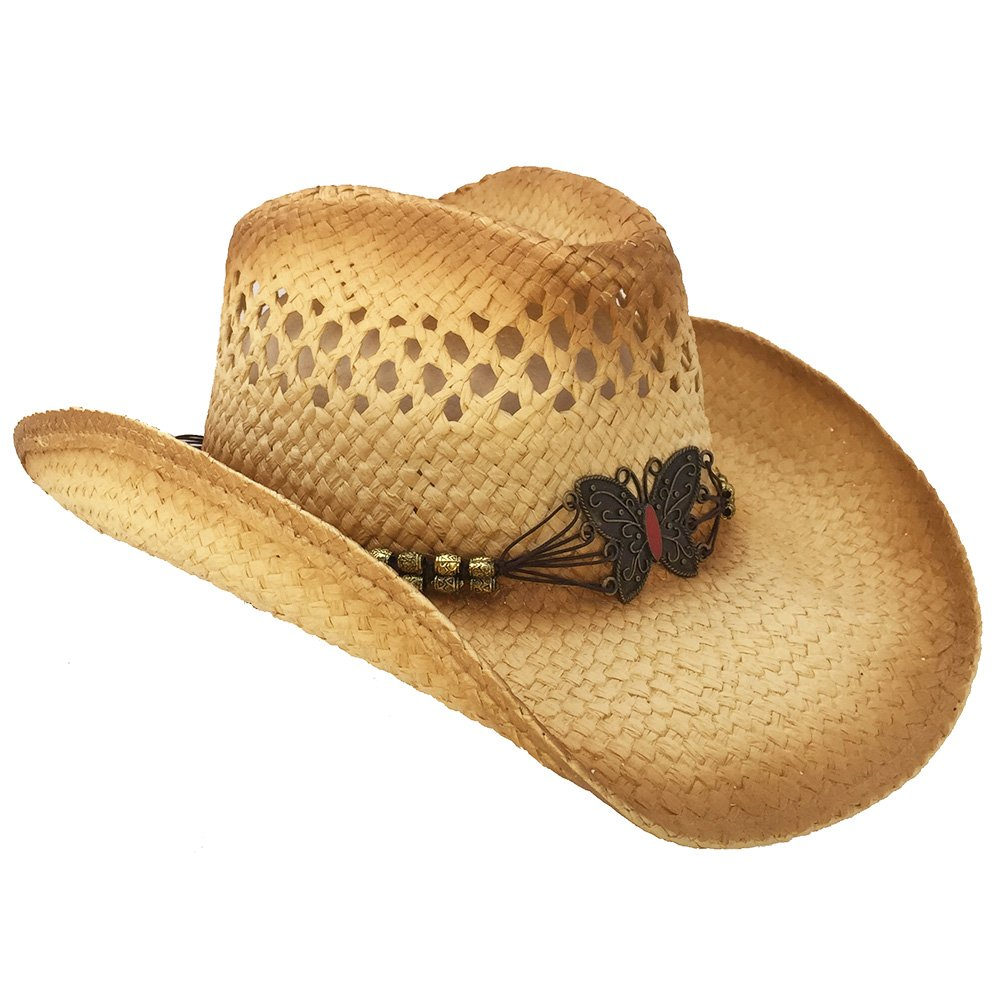 Butterfly Straw Cowboy Hat