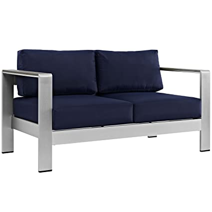 Modway Shore Aluminum Outdoor Patio Loveseat In Silver Navy