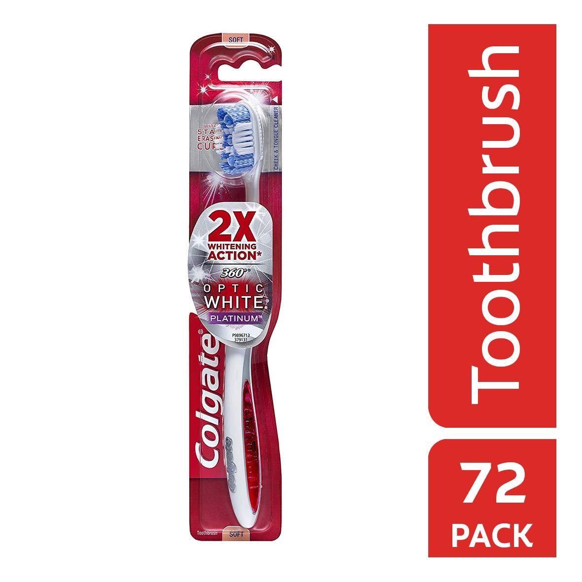 Colgate 360 Optic White Platinum Whitening Toothbrush, Soft (72 Pack)