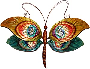 Eangee Home Designs Metal Handcrafted Peacock Dragonfly Wall Decor Sculpture