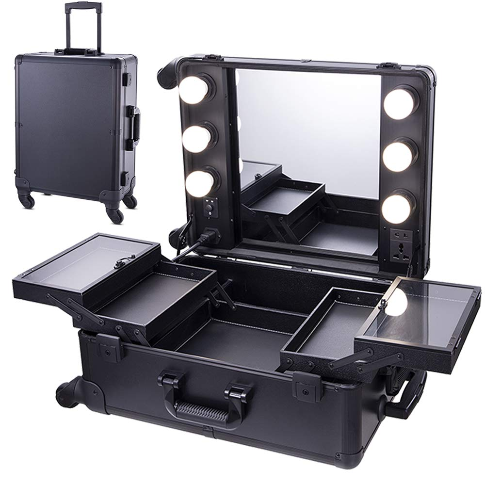 Chende Black Pro Studio Artist Train Rolling Makeup Case with Light Wheeled Organizer, Hollywood Vanity Set with Mirror Lights for Dressing Room (Black) by Chende