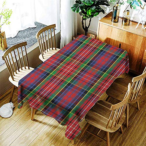 (XXANS Outdoor Tablecloth Rectangular,Plaid,Caledonia Scottish Traditional Pattern Tartan Motif Abstract Squares Ornate Quilt,Table Cover for Dining,W54x72L Multicolor)