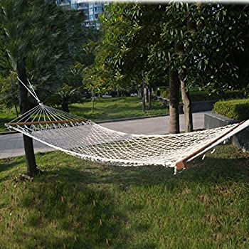 2 person hammock cotton rope wood frame outdoor tree patio