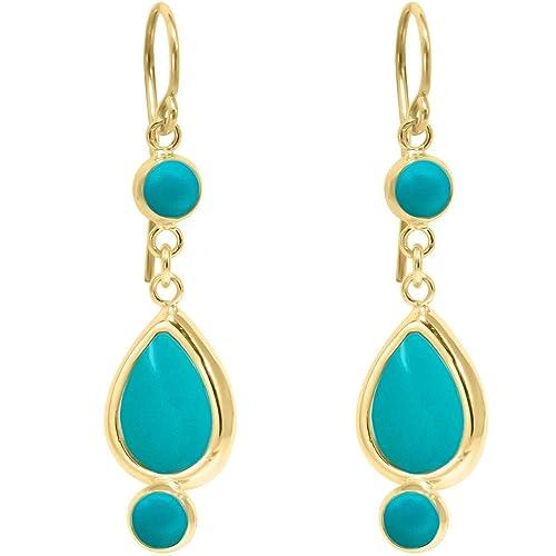 Ladies Jewelry Vintage Turquoise Teardrop Hoop Dangle Earrings Jewelry IT