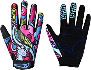 Perfeclan Kids Cycling Gloves, Non-Slip Children Full Finger Gloves for Bicycle Cycling Roller Skating Fishing