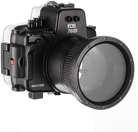 wenichen Pro 40 M impermeable Vivienda Bajo el agua cámara funda para Canon EOS 760d & 18 – 135 mm: Amazon.es: Electrónica