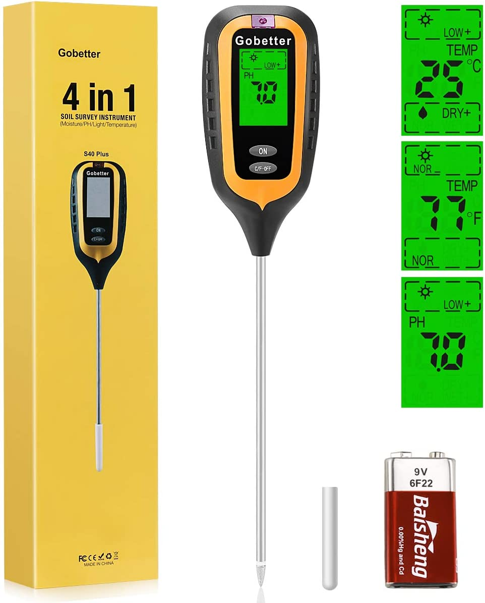 Gobetter Soil Moisture Meter, 4-in-1 Plant ph Meter Soil Tester with Moisture/pH/Light/Temperature for Garden, Lawn, Farm, Indoor & Outdoor Use