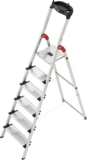 Hailo XXL - Escalera doméstica de aluminio, peldaños extra anchos, bandeja multifuncional, gancho para cubo y pinza para cable (6 peldaños): Amazon.es: Bricolaje y herramientas