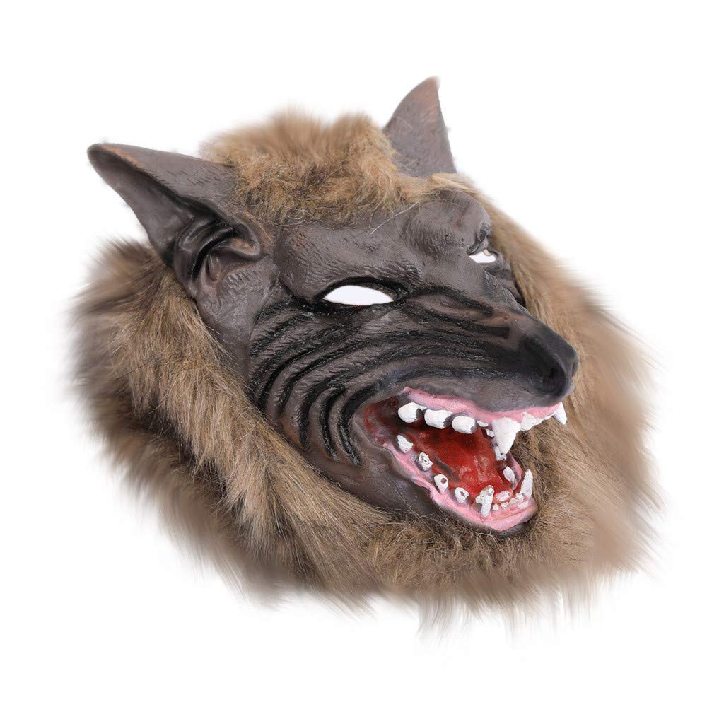 CSSD Wolf Head Mask for Halloween Cosplay Costume Party Scary Halloween Mask (Brown)