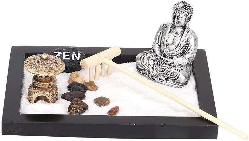 Hztyyier Arena Mesa de Arena Jardín Zen Buddha Rastrillo Arena Caja de Arena Meditación Paisaje artístico Decoración de la Oficina en casa: Amazon.es: Hogar