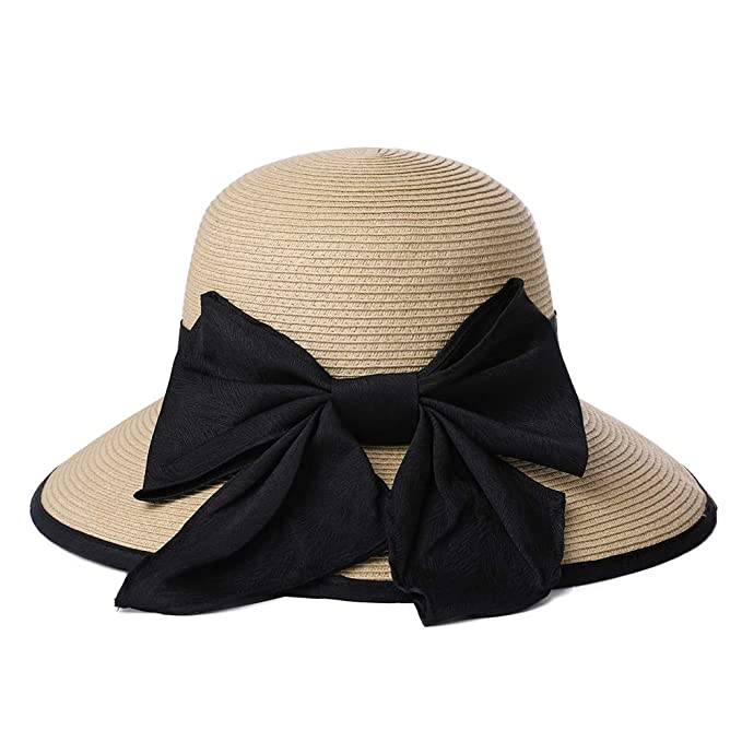 3db03edb71f Straw Sun Hat Fedora Black Ribbon Bowknot Big Head Women Packable Panama Cloche  Beige 59cm