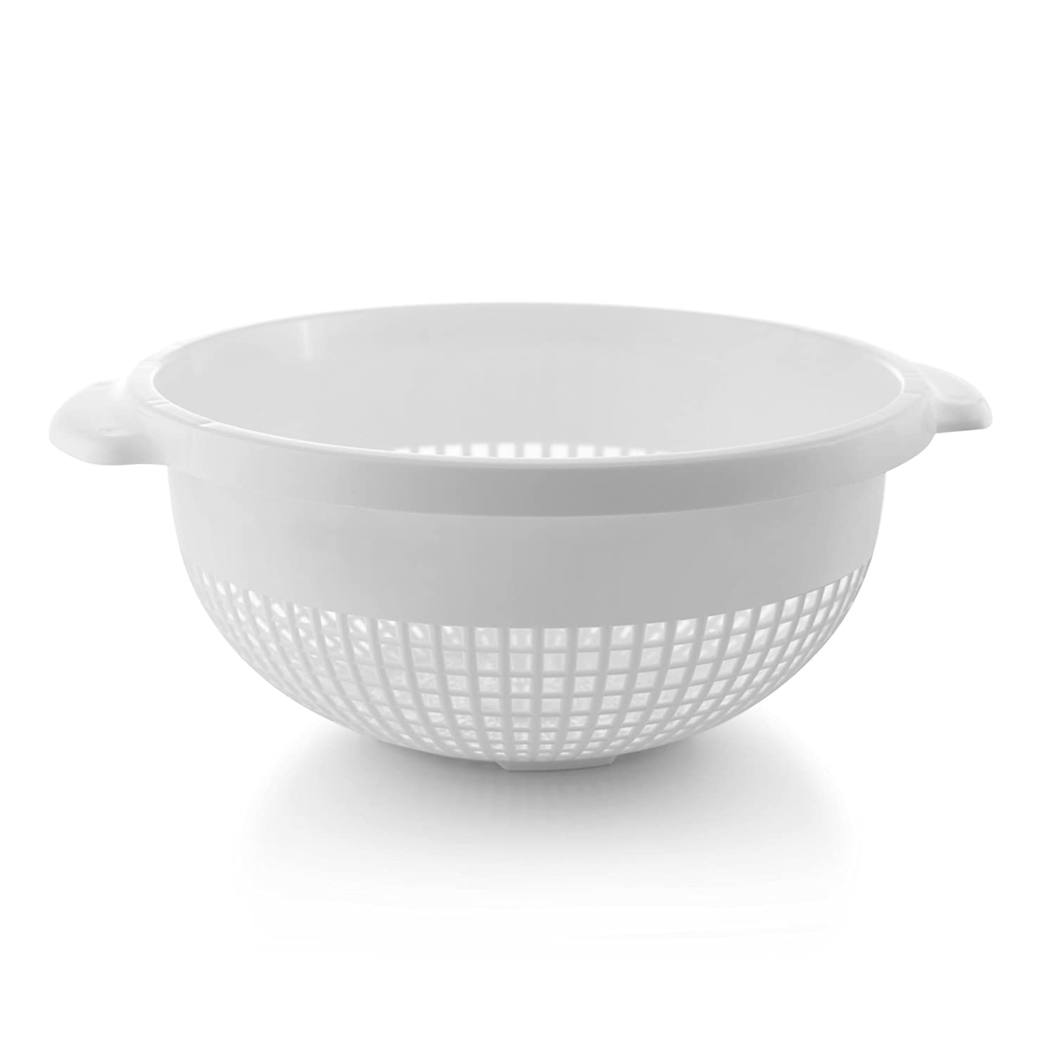 YBM Home 14 Inch Deep Plastic Strainer Colander with Handle – Made of Food Safe BPA-Free Plastic -Dishwasher Safe - Use for Pasta, Noodles, Spaghetti, Vegetables and More 31-1128-white (1, White)