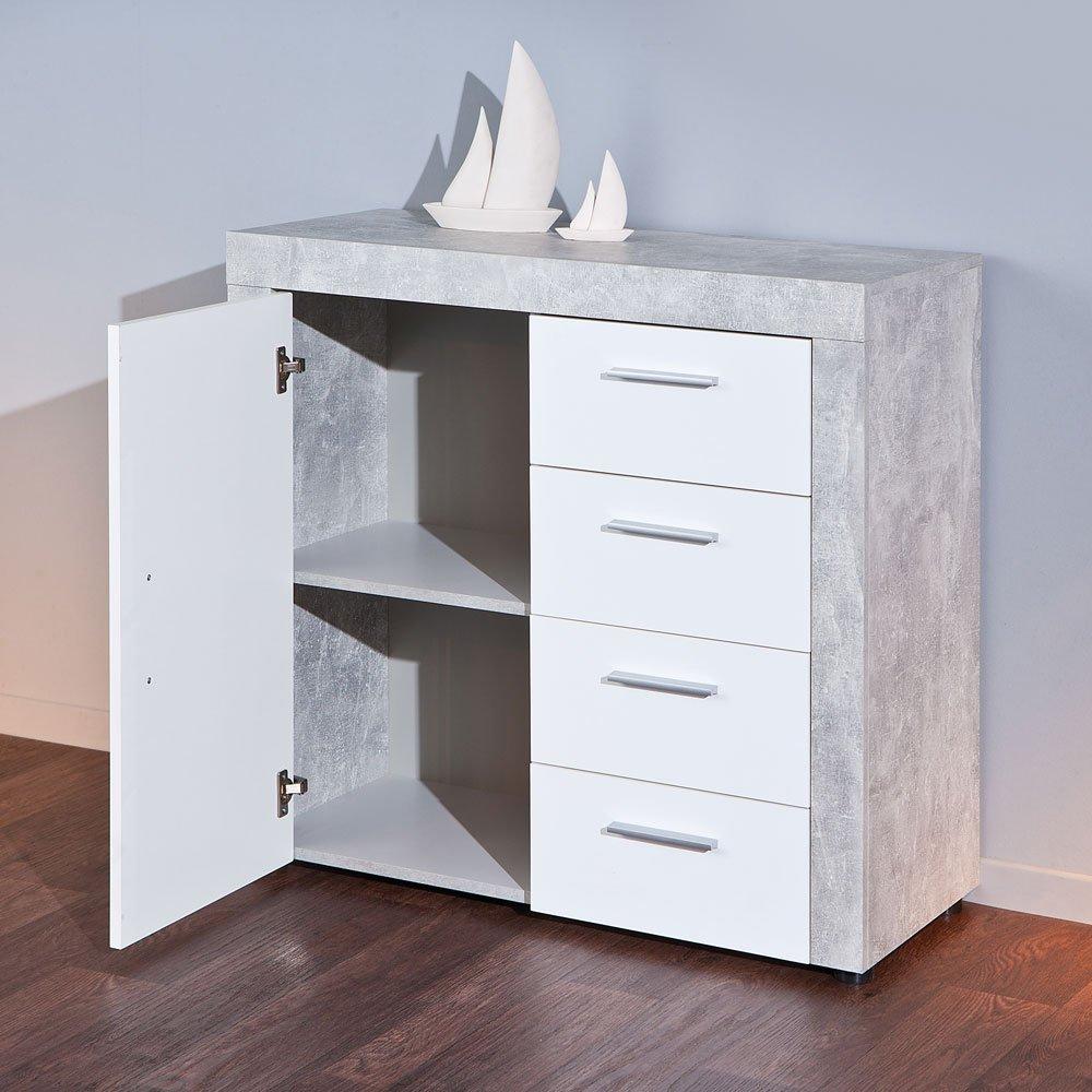 Schlafzimmer kommode in weiß hochglanz grau beton optik pharao24 ...