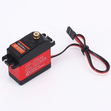 DS3218 RC servo Impermeabilizan el servo digital de servo del engranaje servo metal del eje de la servo del eje individual servo 20kg para el coche de RC ...