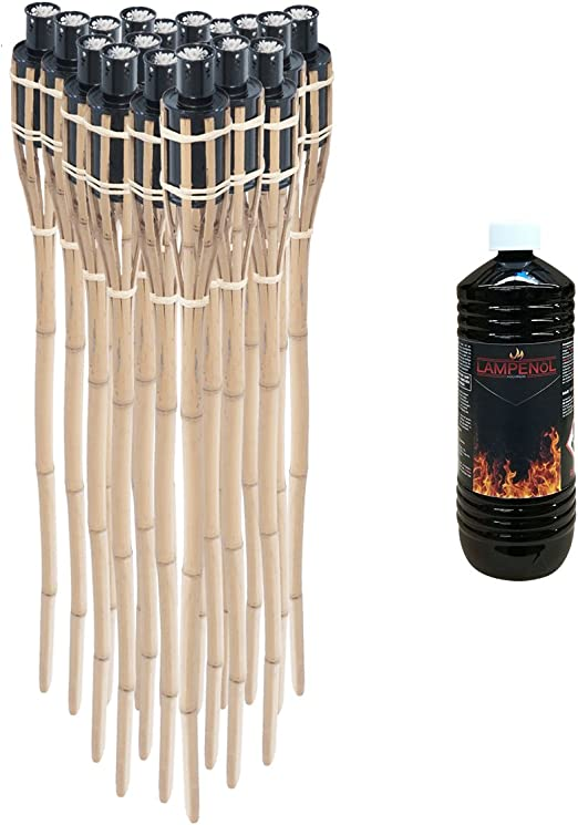 Pre & mium 18 x – Antorchas de jardín bambú bambú decorativo con aceite 1L fackelöl lampenöl laternenöl: Amazon.es: Jardín