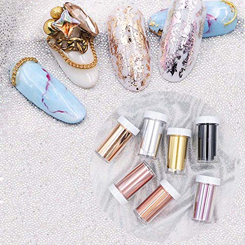 7 Pcs Laser Matte Rose Gold Nail Transfer Foils Decorations Nail Art Polish Wraps Decals DIY Nail Beauty Stickers Accessories 4100cm ()