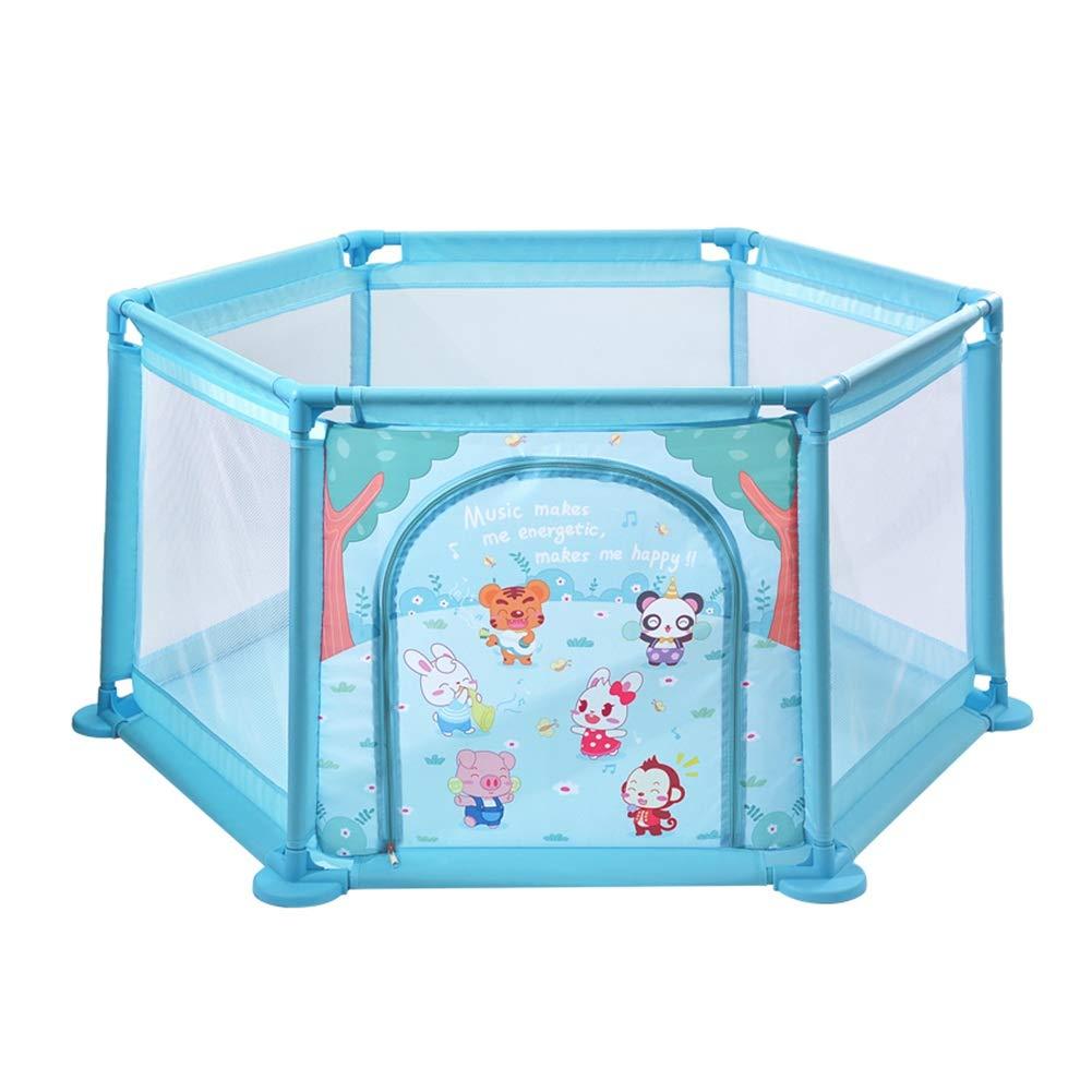 ベビーサークル 赤ちゃんの遊び場6パネルの再生ヤード子供のゲームのフェンス屋内の安全な遊びペン子供の遊び場のボール (色 : 青)  青 B07H97HN7M