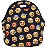 Violet Mist Neoprene Lunch Bag Reusable Insulated School Picnic Thermal Carrying Gourmet Lunchbox Lunch Tote Container Organizer for Men Women Adults Kids Girls Boys Emoji Black