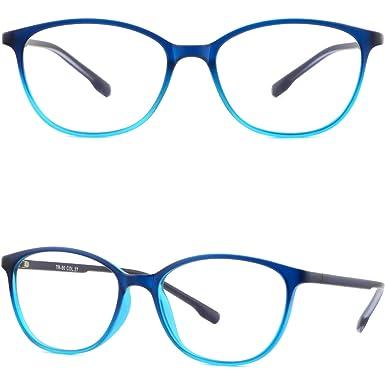 50f6f2f005 Image Unavailable. Image not available for. Color  Thin Light Women s Girls  TR90 Flexible Plastic Frames Prescription Glasses Blue