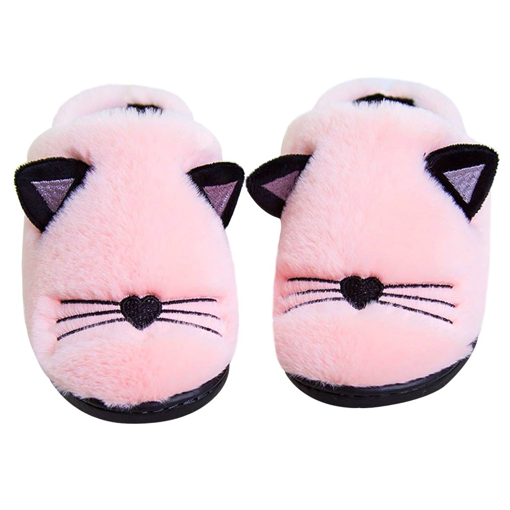 Anddyam Kids Family Cute Cat Household Anti-Slip Indoor Home Slippers for Girls and Boys(Little Kid (4-6 Years) Pink)