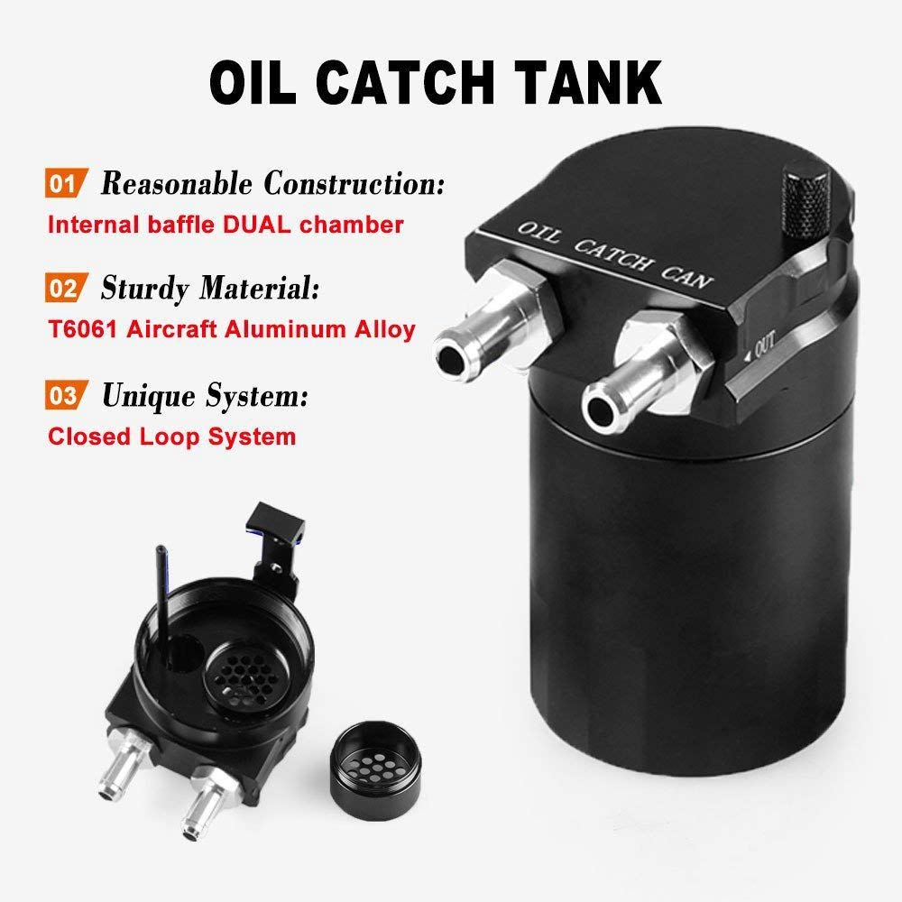 Toogoo Polish Baffled Universal Aluminum Oil Catch Can Rervoir Tank Black