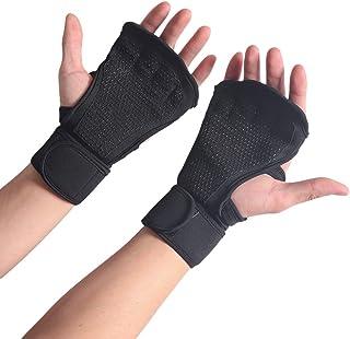 LIOOBO Gants de plongée Fitness haltérophilie Barre Gants de Sport Palm Bracelet Silicone Gants antidérapants Taille L (Noir)