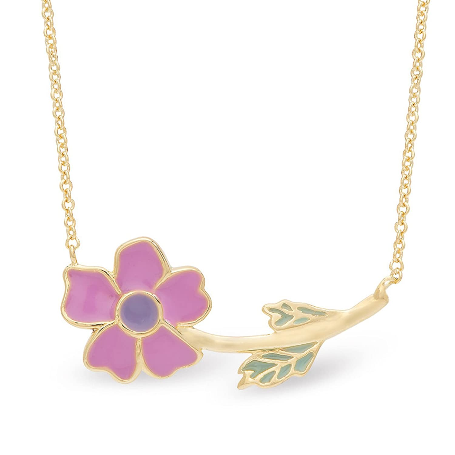 Gold Plated with Hand Painted Pink Enamel Flower Necklace By Lily Nily Necklace for Girls