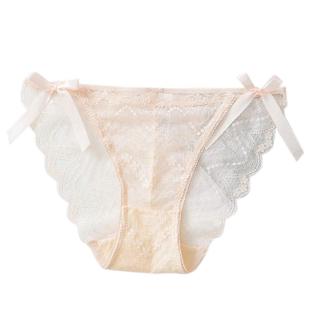 Junlinto sous-vê tement sans Couture pour Femme Dentelle Intime See Brief Briefs Ultra Mince G-String Beige