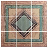 Modern 9-Piece Green and Brown Geometric Print Mural on Wood, 60'' x 60''