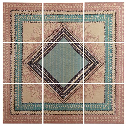Modern 9-Piece Green and Brown Geometric Print Mural on Wood, 60'' x 60'' by Stone & Beam
