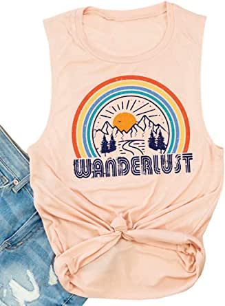FAYALEQ Wanderlust Tank Tops Women Funny Rainbow Graphic Tee Summer Vacation Casual Sleeveless Vest T Shirt
