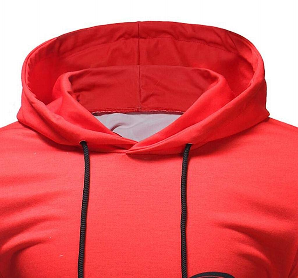 Mstyle Mens Casual Letter Printing Active Color Block Drawstring Long Sleeve Pullover Hooded Sweatshirt