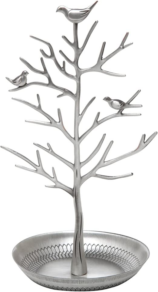 Amazon Com Inviktus Silver Birds Tree Jewelry Stand Display Earring Necklace Holder Organizer Rack Tower Silver Home Kitchen